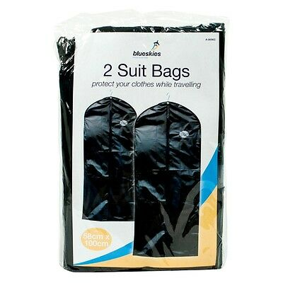 2 Suit Bags Cover Protect Garment Clothes Storage Carrier Hanging Suit Coat Bags