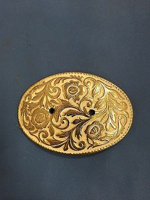 Brass Plated Belt Buckle Vintage Flower Design Nice White & Brass Belt Buckle