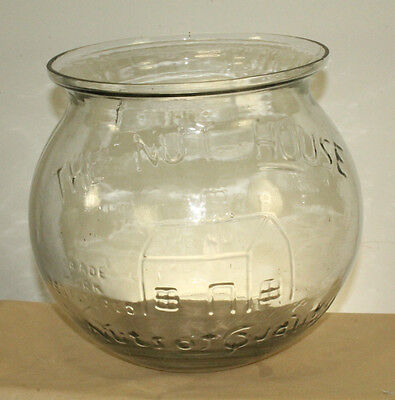 The Nut House Store Counter Display Jar Advertising Excellent Condition 9''x9''