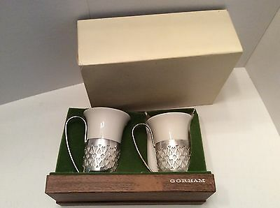 Gorham Holders Liners and Porcelain Cups - SET of 2 - Silver Plated EPYC 178