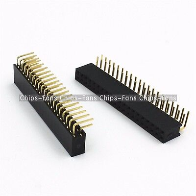 5PCS 2.54mm Double Row 2X20 40Pin Female Right Angle Header Socket Pin Strip CF