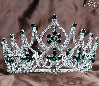 Emerald Beauty Pageant Tiara Diadem Green Rhinestone Wedding Prom Party Costumes