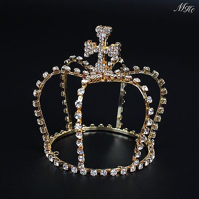 Small Cross Tiara For Kids Gold Rhinestone Crown Hair Accessories Bridal Pageant