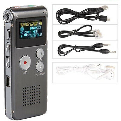 LCD 4GB Digital Audio Recorder Dictaphone 650Hr MP3 Rechargeable Spy L3