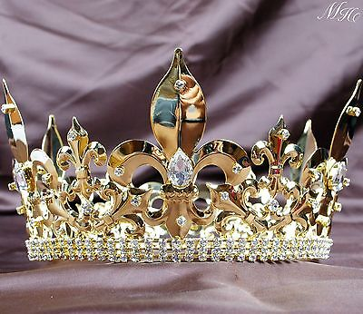 Men Large Gold Tiara Imperial Diadem Clear Rhinestones Pageant Party Art Deco