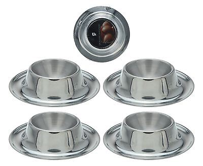 Egg Cup 4 Pieces Silver Stainless Steel Soft Boiled Circular