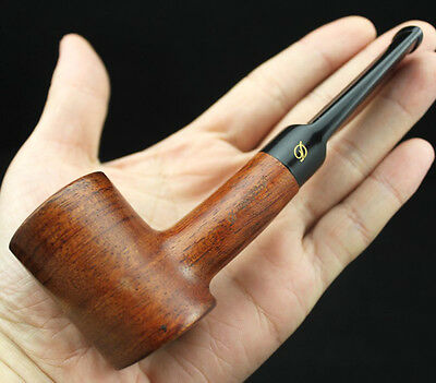 Handmade Straight Rosewood Wood Tobacco Smoking Pipe &Pouch Stand 10 Filter #Z07