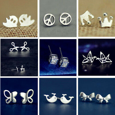 Pair Cute Women Elegant Animal Silver Ear Stud Earring Lady Fashion Jewelry Gift