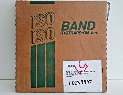 """ISO Band-it BA404 316 Stainless Steel Band Strap  1/2"""" x .030"""" x 100 feet"""