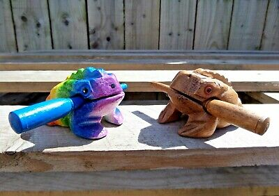 Fair Trade Hand Made Carved Wooden Frog Guiro Hand Percussion Musical Instrument