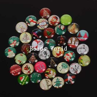 50 Pcs Mixed Christmas Cabochon Glass Dome Tile Seals 20mmJewelry Making