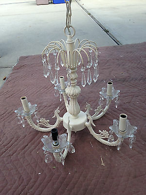 (Sold) Vintage Shabby Country French Chic Crystal Chandelier