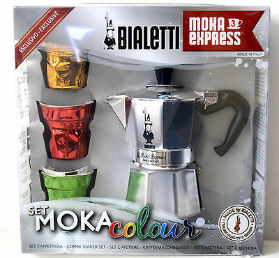 Gift Set Bialetti Moka Express 3 Cups stove top coffee espresso maker Brand New