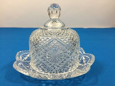 Vintage Avon Clear Cut Crystal Glass Diamond Cheese/Butter Dome Dish