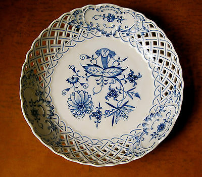 "Meissen-Porcelain Blue Onion  8"" Reticulated Bowl-Crossed Swords-54900, 74C"