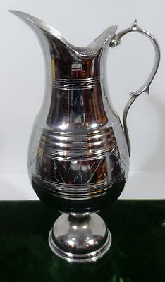 Old Vintage Large Metal Chrome Ewer Non Magnetic Brass Copper Plated Pitcher