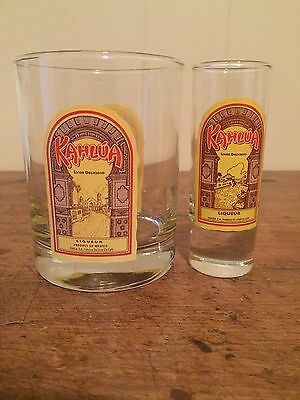 "Lot of 2 Kahlua Barware - Shot glass -  Low Ball Glasses 4"" Tall cocktail drink"