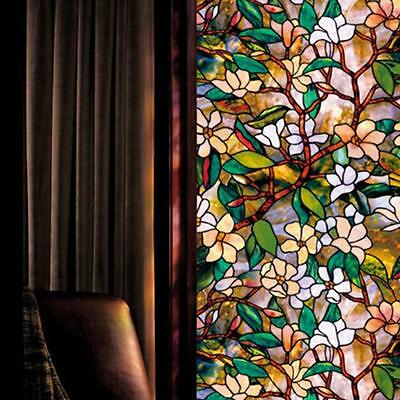 Static Cling Cover Stained Flower Window Film Glass Privacy 45*100cm Home Decor