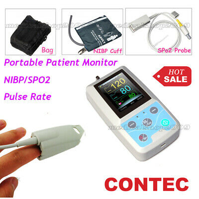 FDA US ship PM50 Portable Patient Monitor Vital Signs NIBP SPO2 Pulse Rate Meter