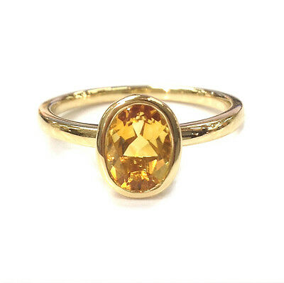 Solitaire 6x8mm Oval Cut Citrine Engagement Wedding Ring 14K Yellow Gold 6#