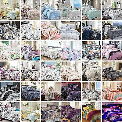 4pc Flat Fitted Sheet Pillowcases Set [NO QUILT COVER] - Queen/King/Super Size
