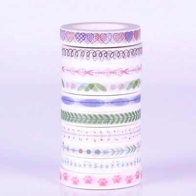 10 Roll 10M Hand Painted Washi Tape Scrapbooking Craft DIY Paper Sticky Sticker