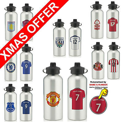 Personalised Football Club Water Drinks Bottles CHRISTMAS SPECIAL