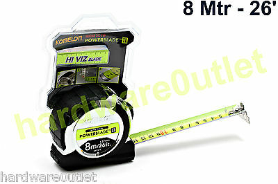 8 Mtr KOMELON Hi VIZ Blade 26' x 27mm Blade Tape Measure Super Tradesman Quality