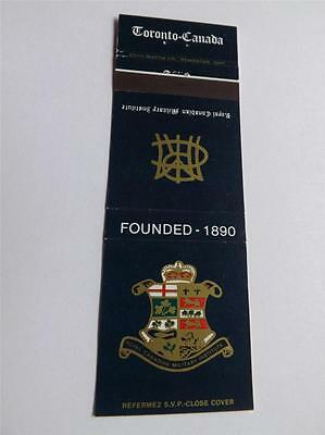 Royal Canadian Military Institute Founded 1890 Vintage Matchbook Cover
