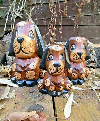 Fair Trade Hand Carved Made Wooden Wood Dog Animal Sculpture Ornament Set Of 3