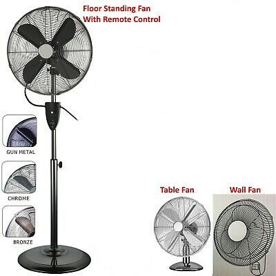 40cm Chrome Floor Fan 50W Oscillating 3 Speeds Metal Blades 120cm High Stand Fan
