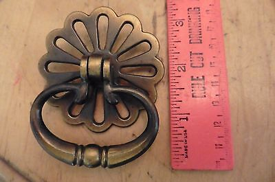 Vintage Drawer pull handle brass HANGING knocker flower dresser desk Antique