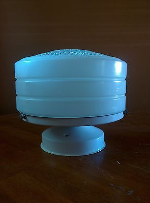 Vintage Art Deco White Glass Ceiling Light Fixture Kitchen Hall Bath Drum