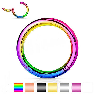 Surgical Steel Hinged Segment Ring Septum Clicker Nipple Nose Hoop
