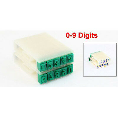 F12 Off White Green Plastic Rubber 0-9 Digits Detachable Number Stamp