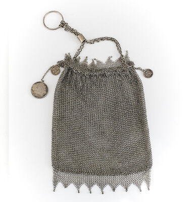 Solid Silver Draw Chain Chainmail Purse w/ Makers Mark Cumshing, c1916