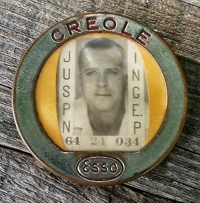 Vintage Esso Creole Employee Picture Badge