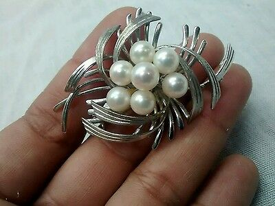 Pretty vintage retro Japan Sterling silver pearl pin brooch /pendant