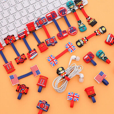New British Wind Earphone Winder Cable Cord Organizer Phone Cable Holder 10PCS