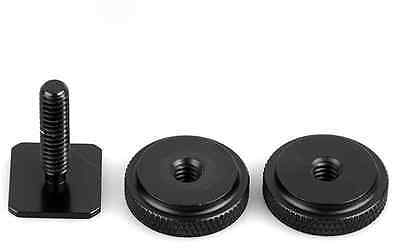 Rugged 1/4 Inch Dual Nuts Tripod Mount Screw to Flash Camera Hot Shoe Adapter CA