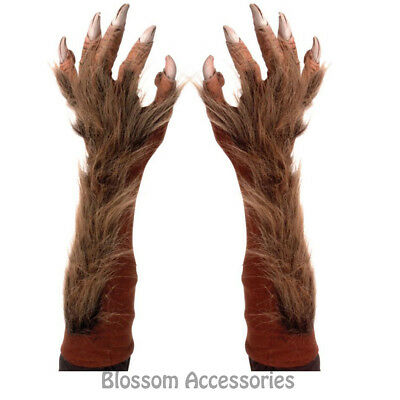 A727 Wolf Werewolf Hairy Costume Arm Claws Gloves Halloween Costume Accessory
