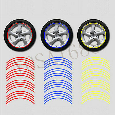 "3M Reflective Tape Car Motorcycle Rim Stripe 16 17 18 "" Wheel Decal Stickers"