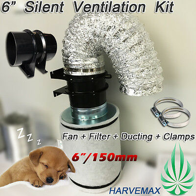 "6""/150mm Axial Fan HARVEMAX Carbon Filter Hydroponics Grow Tent Ventilation Kit"