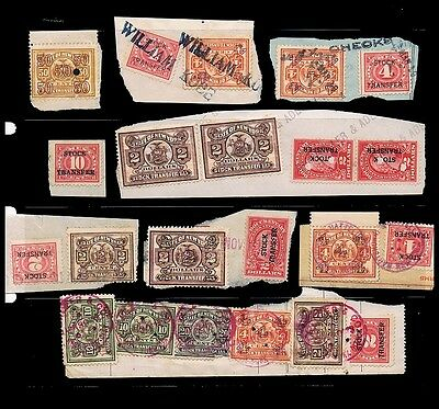 USA • Selection of Stock Transfer Stamps, some with Private Perfins