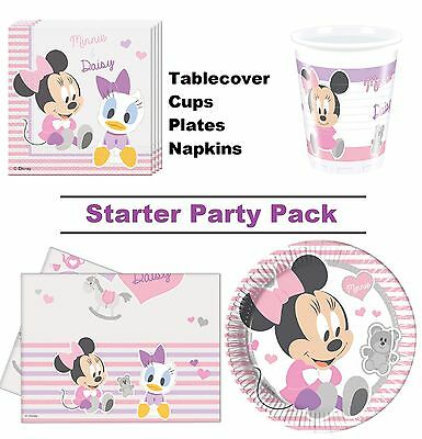Minnie Mouse Baby Girl 8-48 Guest Starter Party Pack | Cups | Plates | Napkins