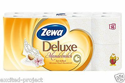 Zewa Deluxe Toilet Paper With Almond Milk Touch, 4ply, 16 Rolls, 16 x 135 Sheets