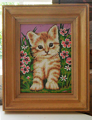 Vintage Framed Calico CAT Kitten PAINT BY NUMBER Painting Nice Frame Pink Flower