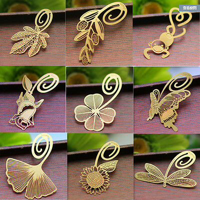 2Pcs Reading Label Creative Bookmark Mark Gift  Metal Clip Book Magazine Gold