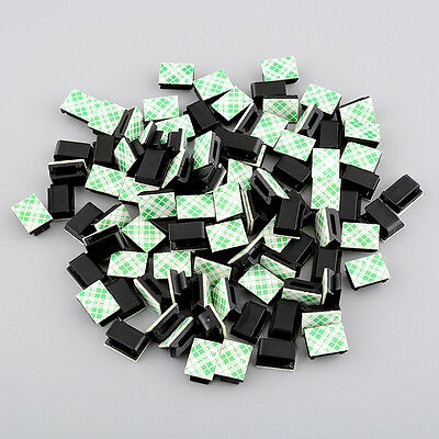 100pcs plastic Self-adhesive Rectangle holder Wire Tie Cable Clamp Black
