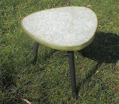 Vintage Tripod Mosaic tiles Small Side Table Plant stand  Authentic Blue